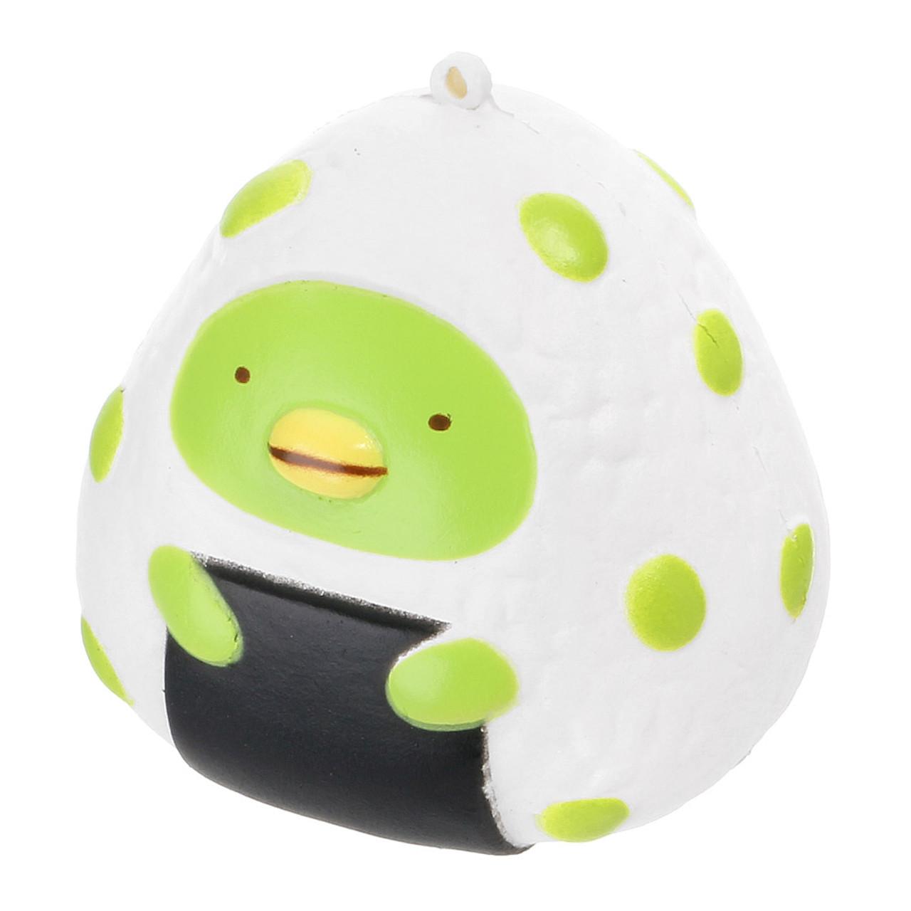 San-x Sumikko Gurashi Rice Ball Penguin Squishy Toys Charms ( Green Penguin  )