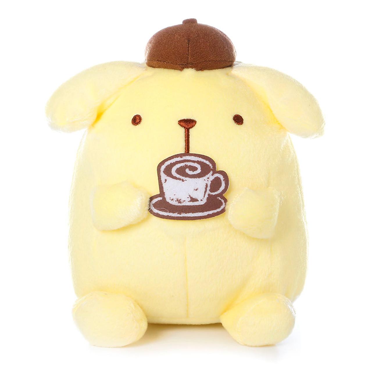 Sanrio Pom Pom Purin Cute Pudding Dog Enjoying Cafe Barista Plush Doll ( Front View )