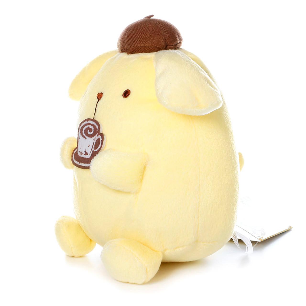 Sanrio Pom Pom Purin Cute Pudding Dog Enjoying Cafe Barista Plush Doll ( Side View )