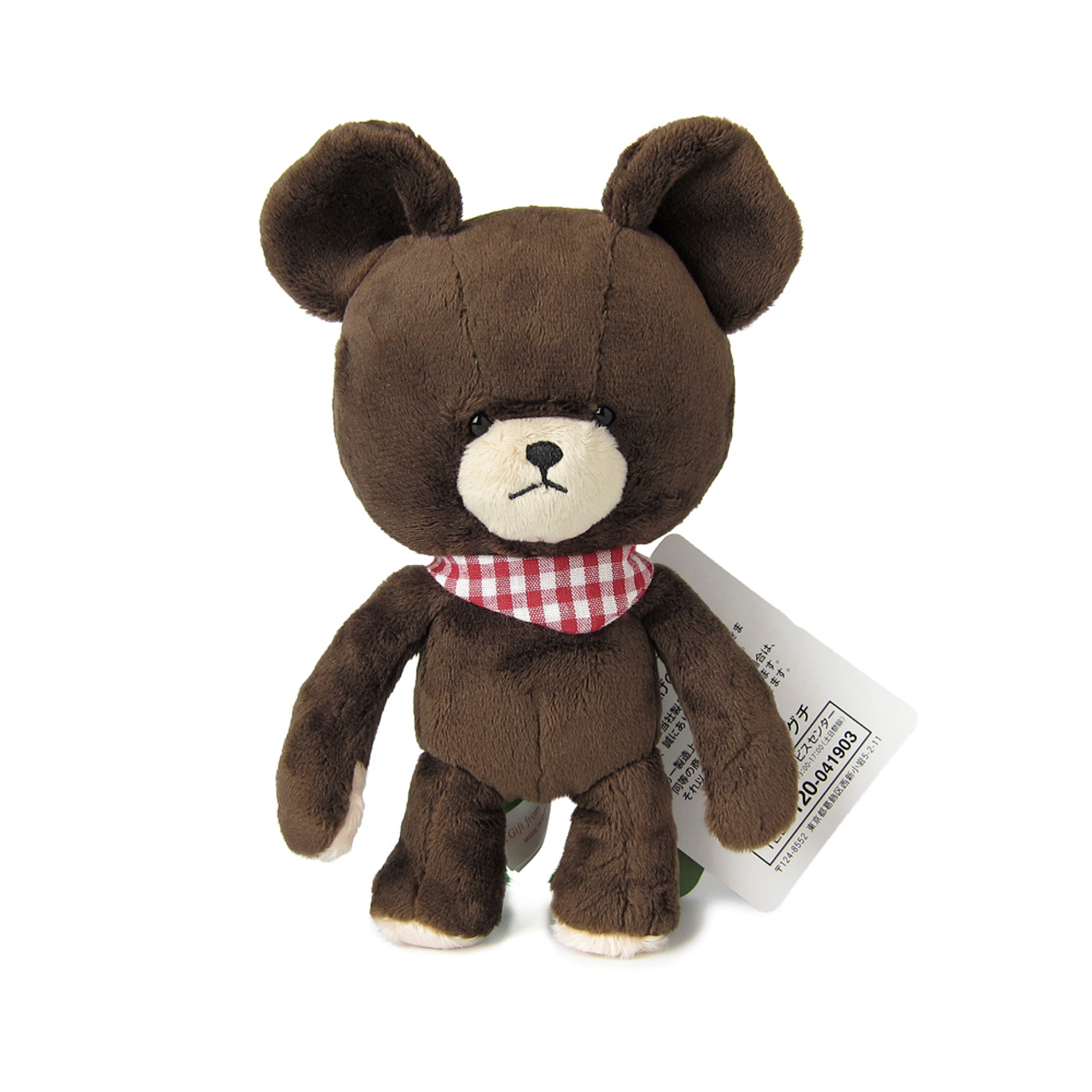 Sekiguchi The Bears School Jackie Red Checker Scarf Soft Plush Doll ( Front View )