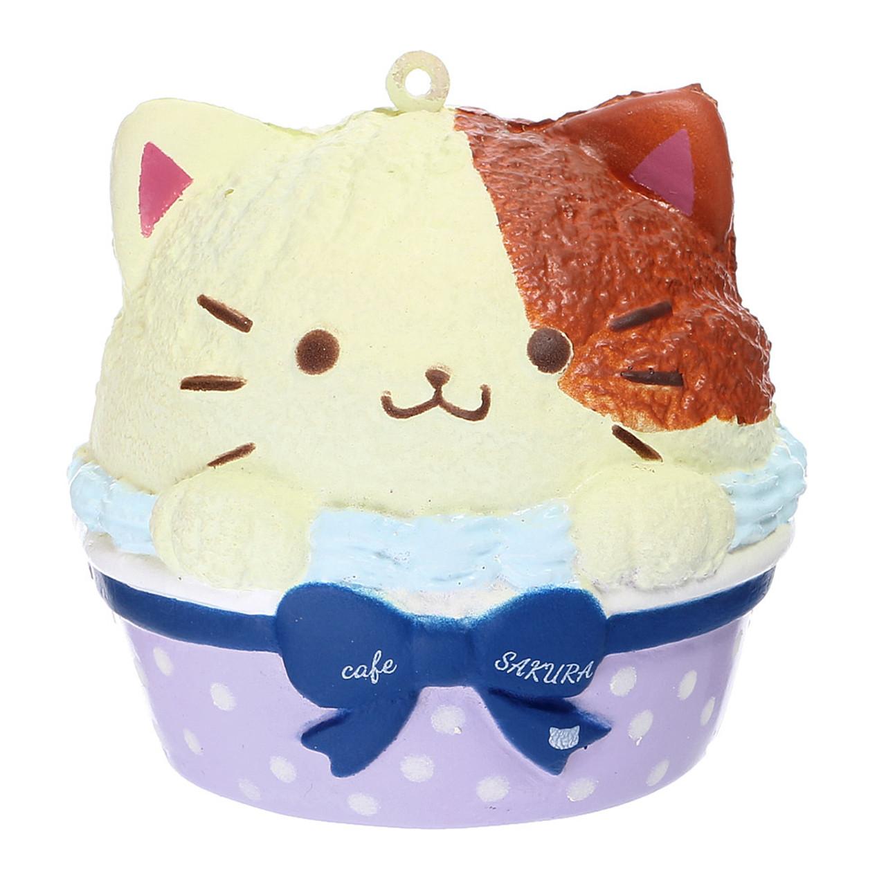 Cafe Sakura Calico Cat Cupcake Baron Mascot Squishy Toy Charm ( Front View )