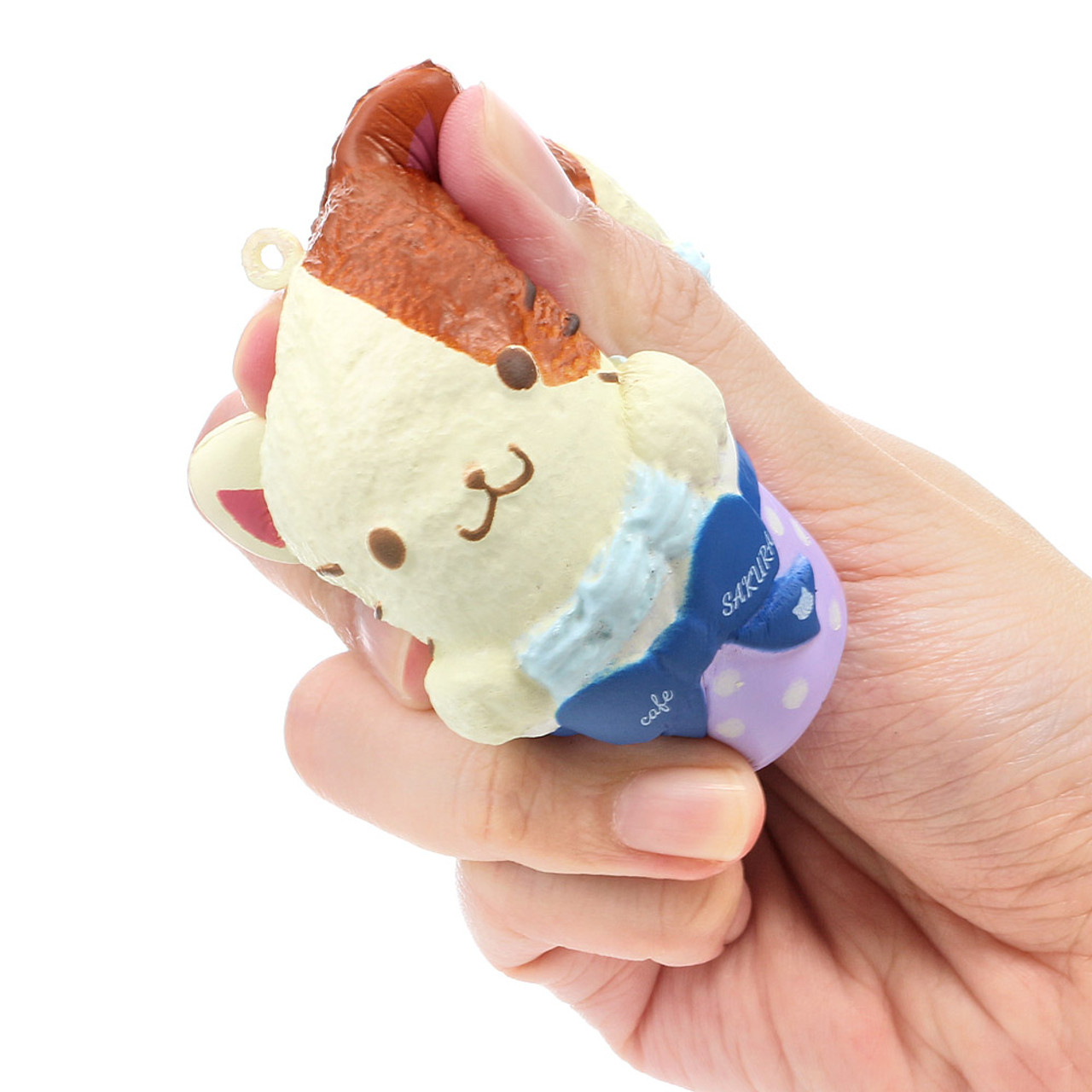 Cafe Sakura Calico Cat Cupcake Baron Mascot Squishy Toy Charm ( Squeeze Mode & Proportion )