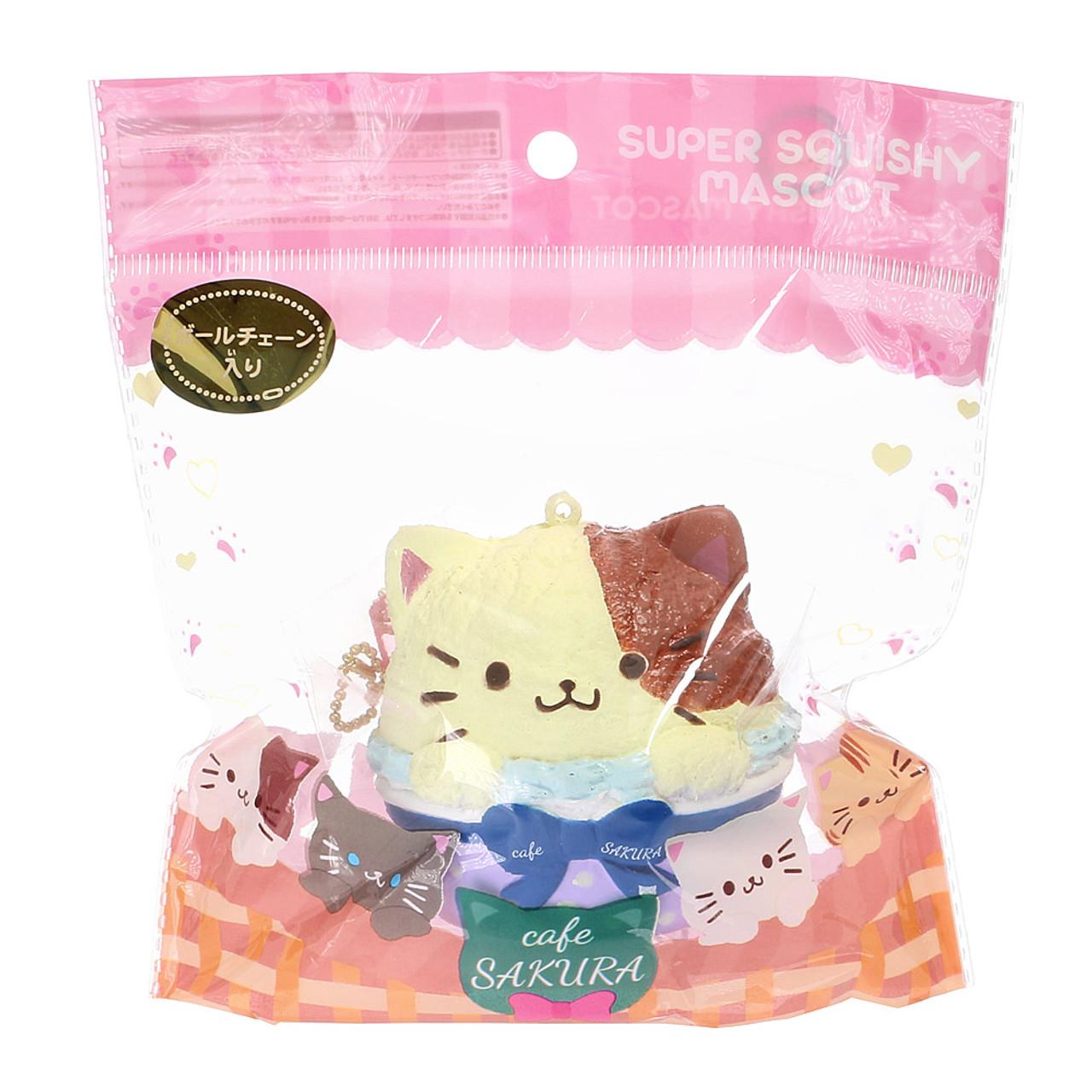 Cafe Sakura Calico Cat Cupcake Baron Mascot Squishy Toy Charm ( Packing View )