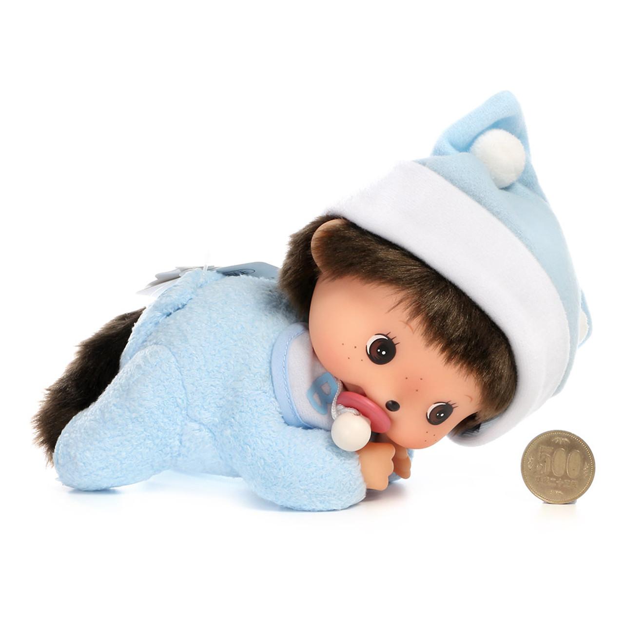 Sekiguchi Bebichhichi Monkey Boy Baby Blue Shirt Crawling Plush Doll - Medium ( Proportion )
