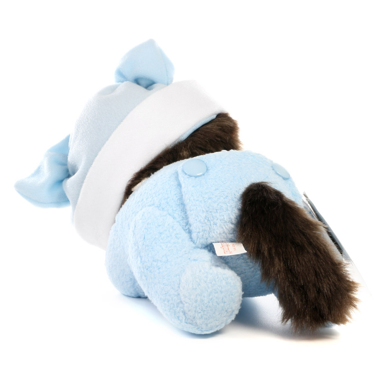 Sekiguchi Bebichhichi Monkey Boy Baby Blue Shirt Crawling Plush Doll - Medium ( Back View )