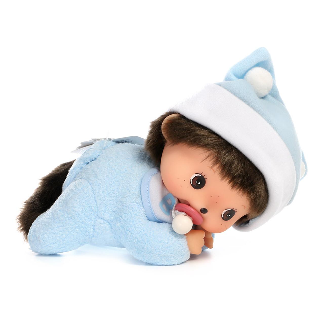 Sekiguchi Bebichhichi Monkey Boy Baby Blue Shirt Crawling Plush Doll - Medium ( Front View )