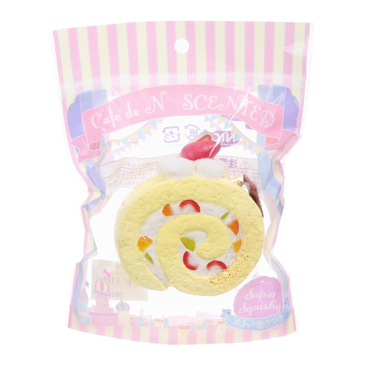 Cafe De N Scented Fruit Chiffon Roll Cake Squishy Toys Charms ( Package View )