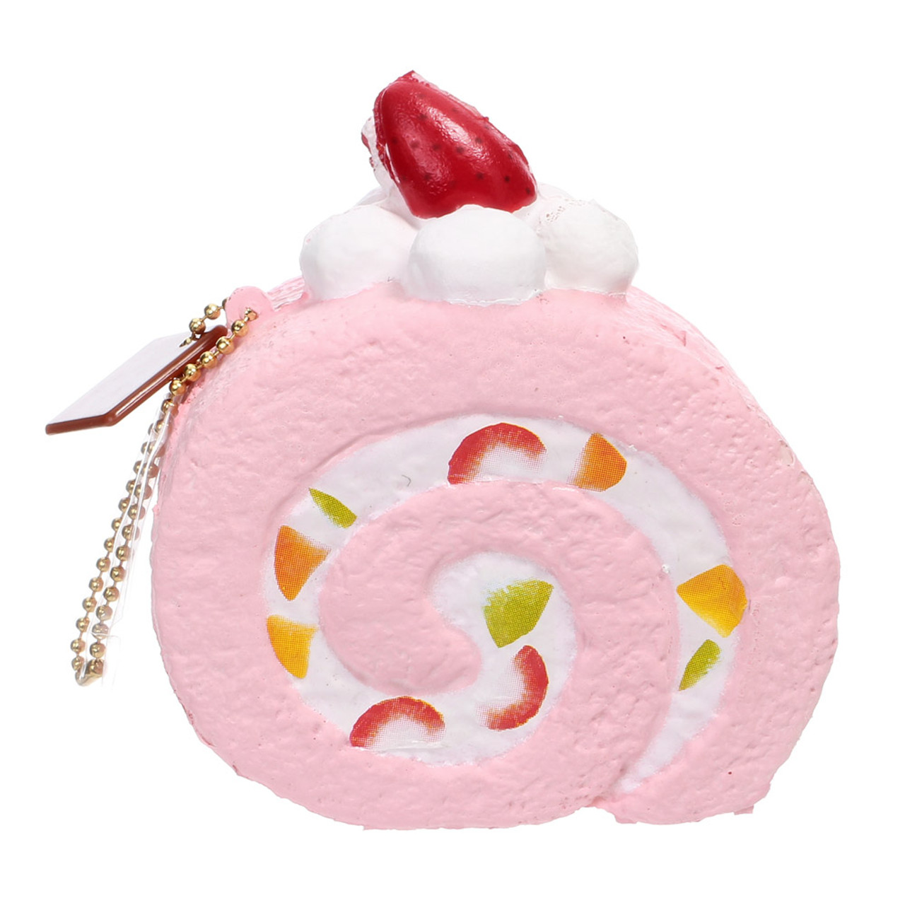 Café De N Scented Strawberry Roll Cake Squishy Toys Charms ( Back View )