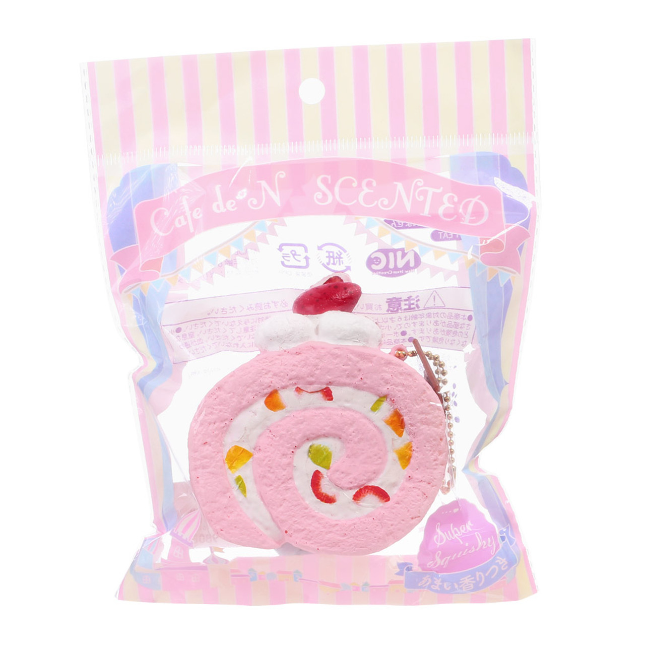 Café De N Scented Strawberry Roll Cake Squishy Toys Charm ( Package View )