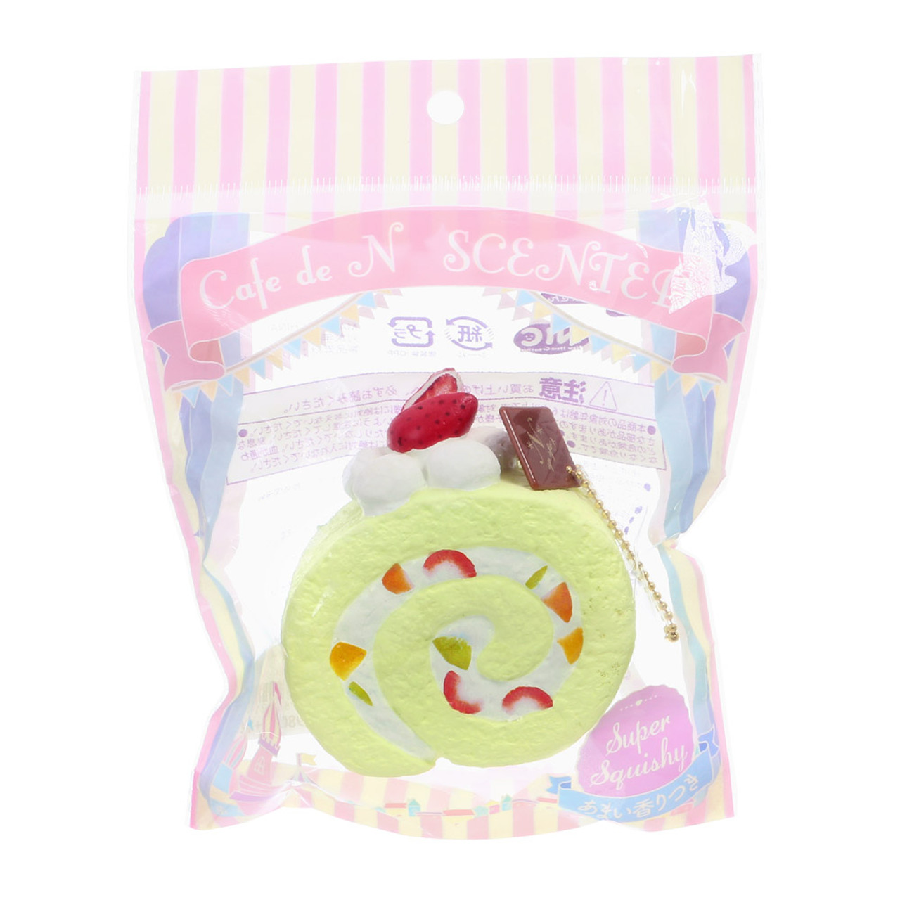 Café De N Scented Matcha Green Tea Roll Cake Squishy Toys Charms ( Package View )