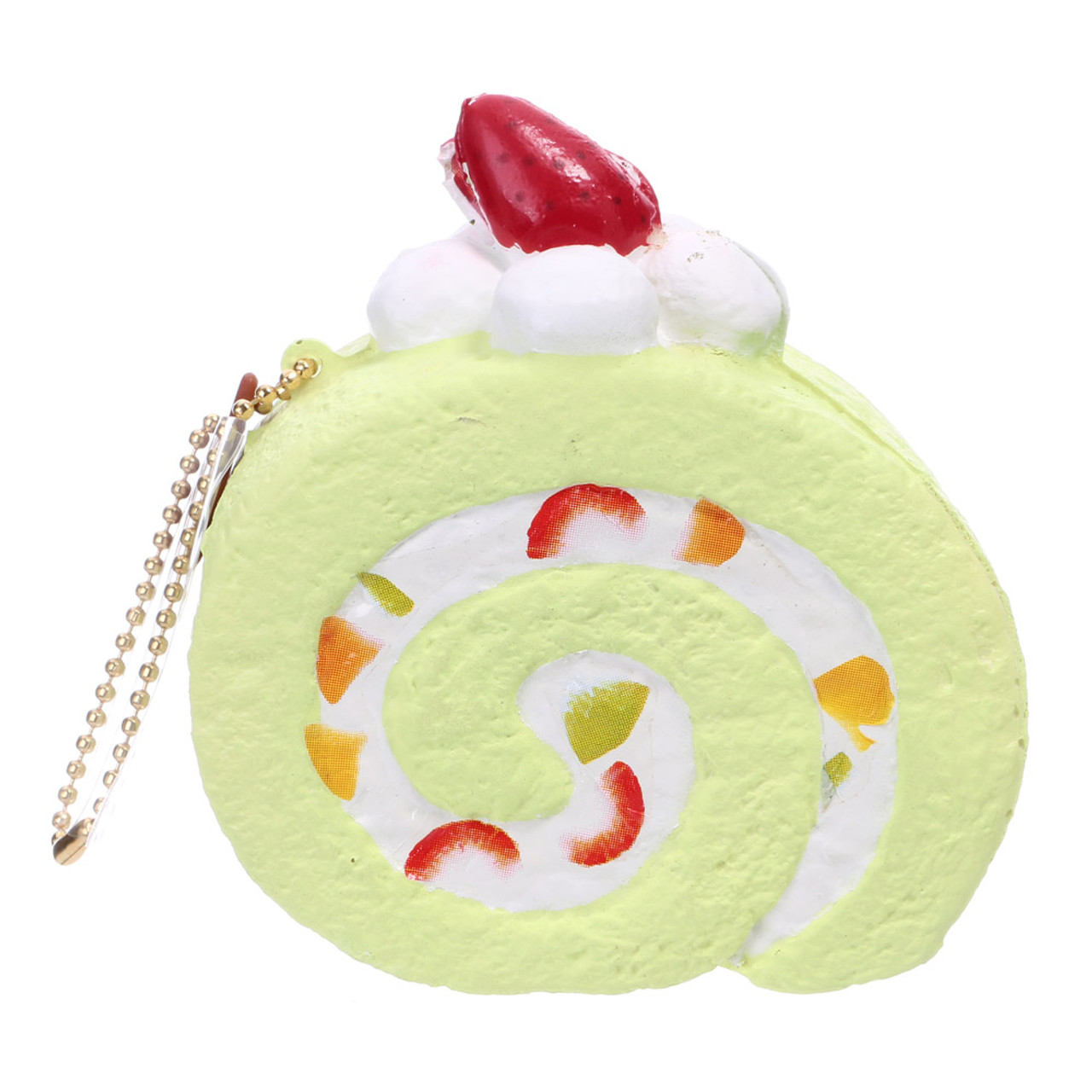 Café De N Scented Matcha Green Tea Roll Cake Squishy Toys Charms ( Back View )