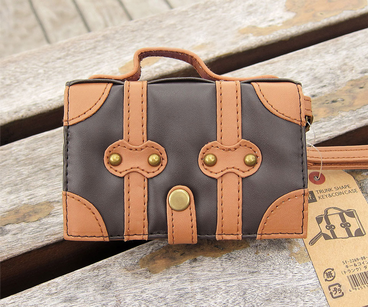 Japan Seto-Craft Motif Dark Brown Color Trunk Shape Key & Coin Case ( Style View )