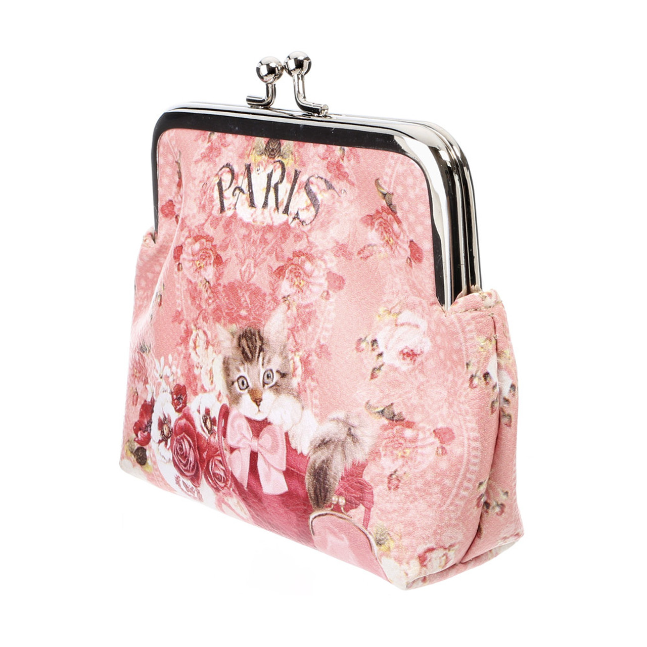 Japan Elegant Pink Flower With Kitten Pouch Ball Clasp Purse Coin Wallet ( Side View )