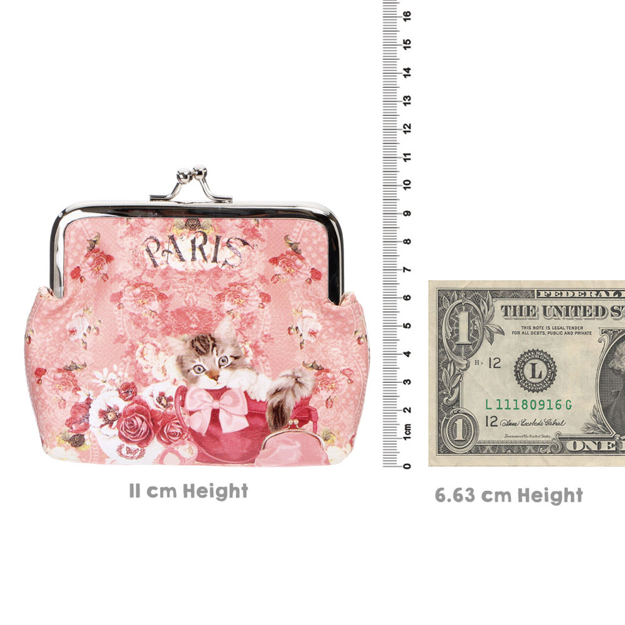 Japan Elegant Pink Flower With Kitten Pouch Ball Clasp Purse Coin Wallet ( Proportion )