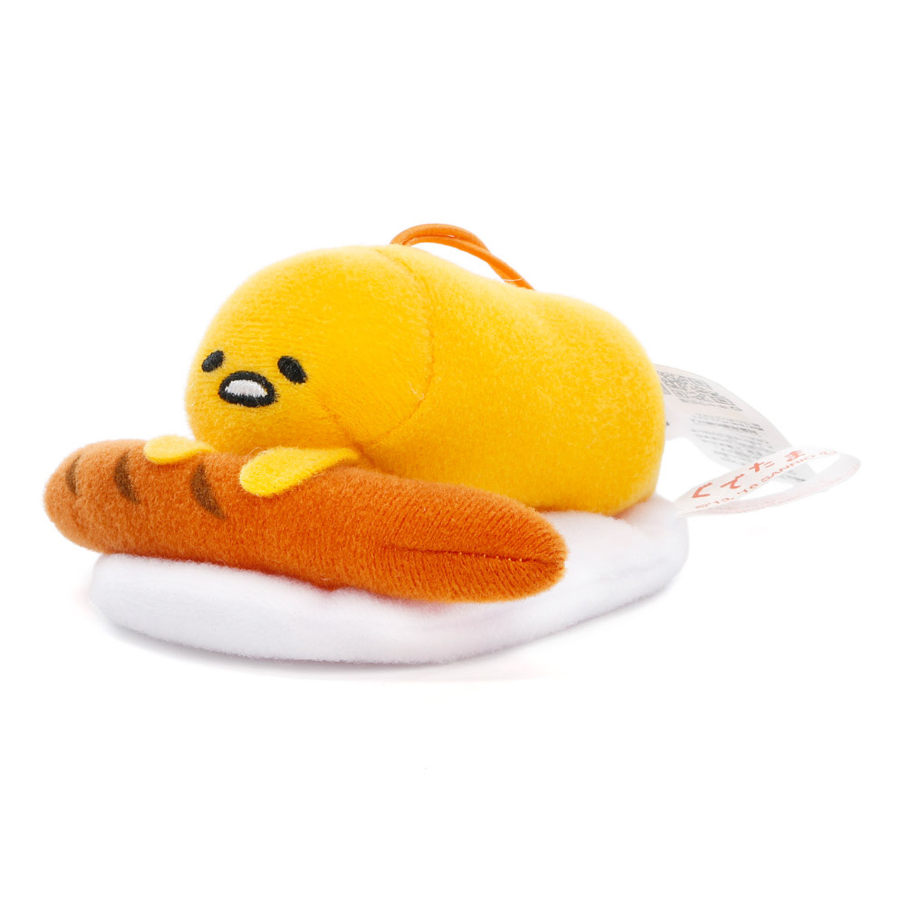Sanrio Gudetama Lazy Egg Sleeping Mascot Plush Charms - Sausage ( Side View )
