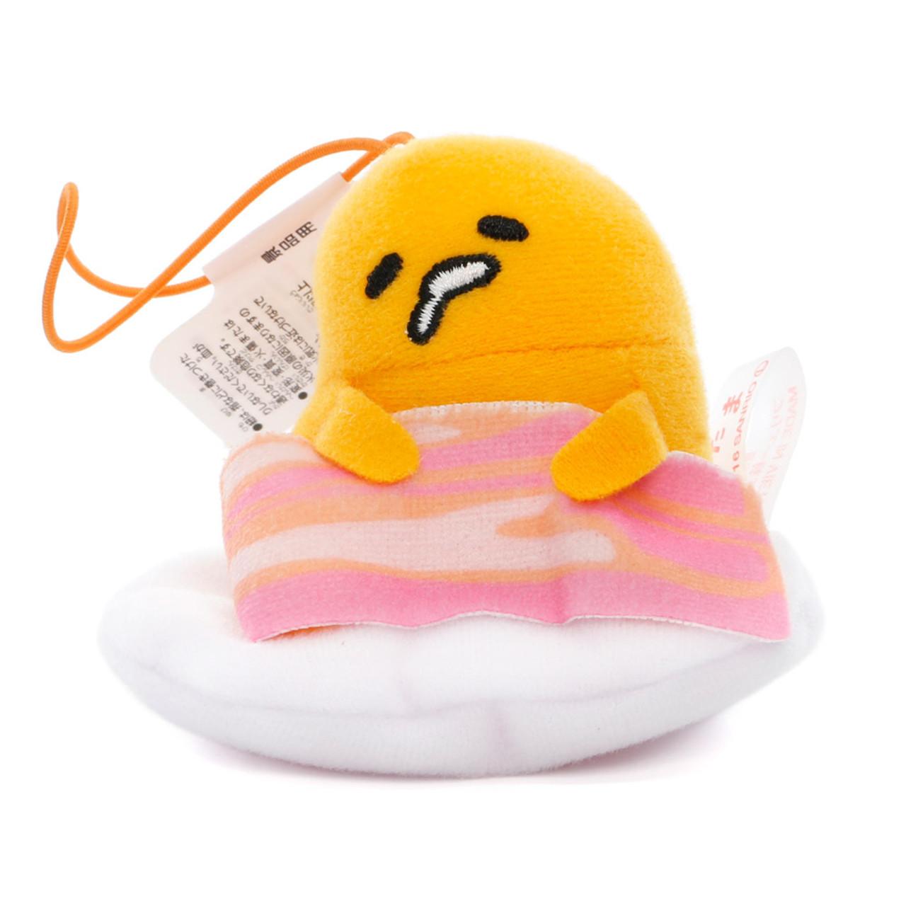 Sanrio Gudetama Lazy Egg Sleeping Mascot Plush Charms - Bacon ( Front View )