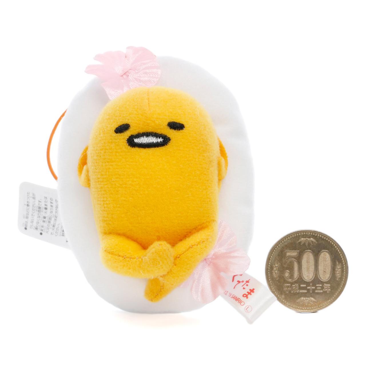 Sanrio Gudetama Lazy Egg Sakura Mascot Plush Charms - Lying On Sakura Egg White ( Proportion )