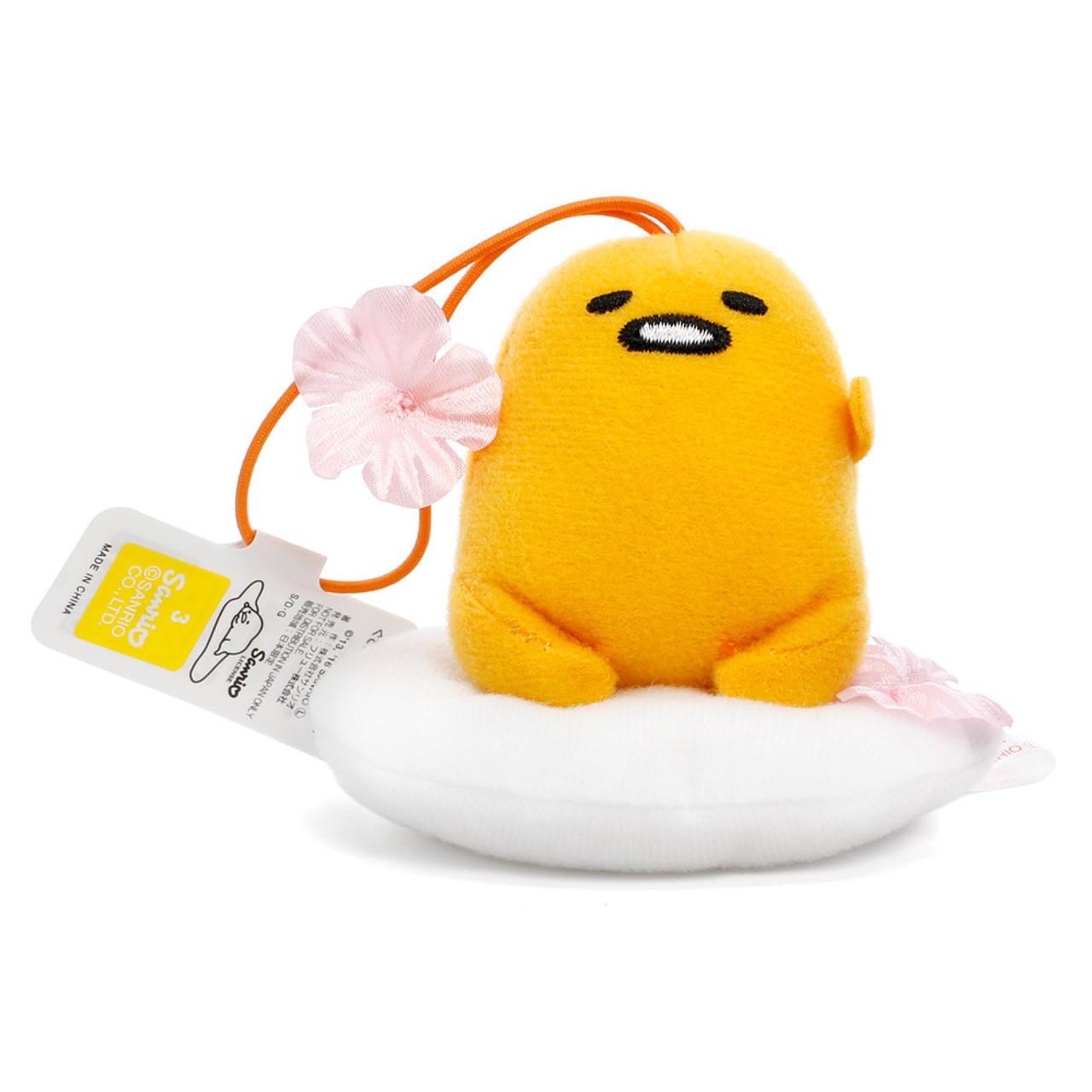 Sanrio Gudetama Lazy Egg Sakura Mascot Plush Charms - Sitting On Sakura Egg White ( Front View )
