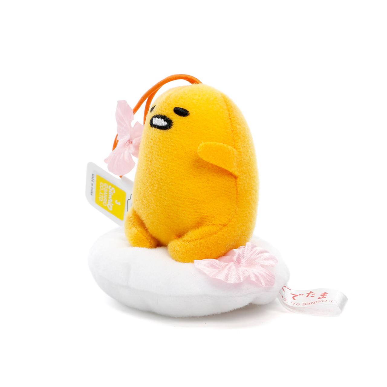 Sanrio Gudetama Lazy Egg Sakura Mascot Plush Charms - Sitting On Sakura Egg White ( Side View )