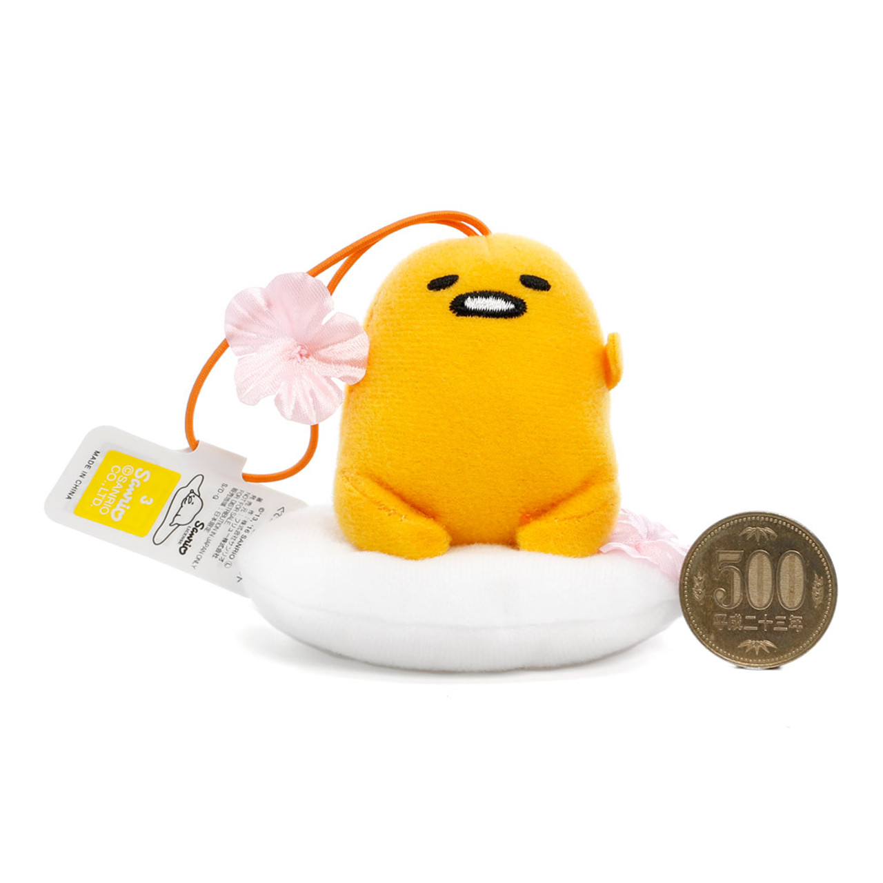 Sanrio Gudetama Lazy Egg Sakura Mascot Plush Charms - Sitting On Sakura Egg White ( Proportion )