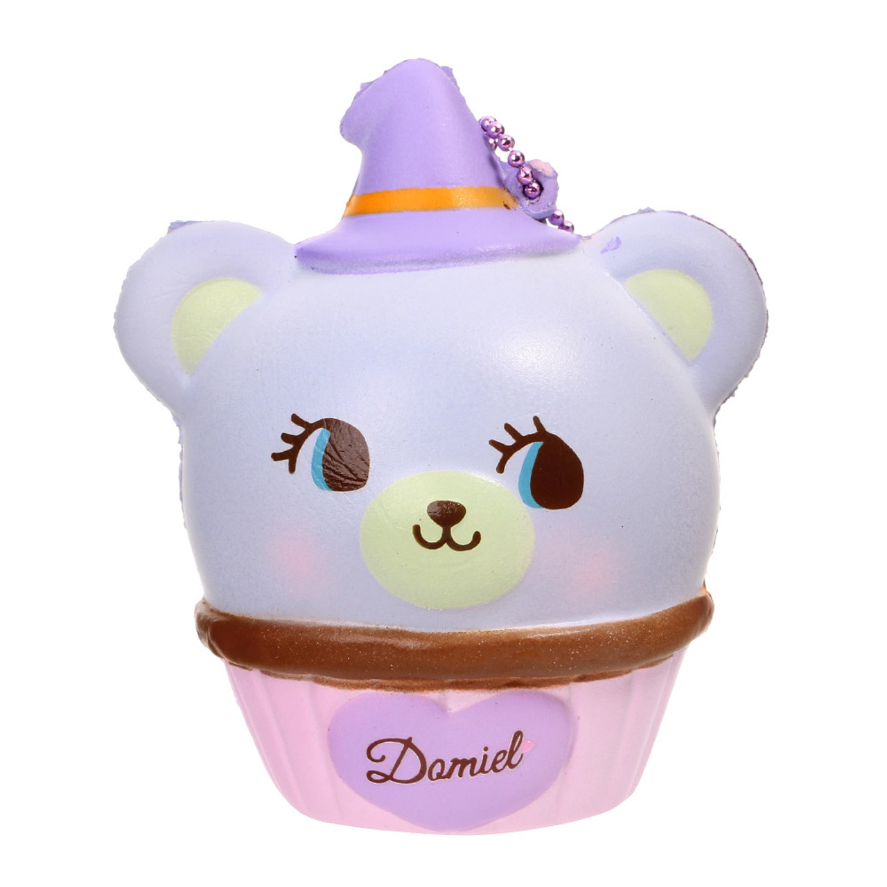 NIC Domiel Hug Me Purple Bear Cupcake Halloween Squishy Toy Charm ( Front View )