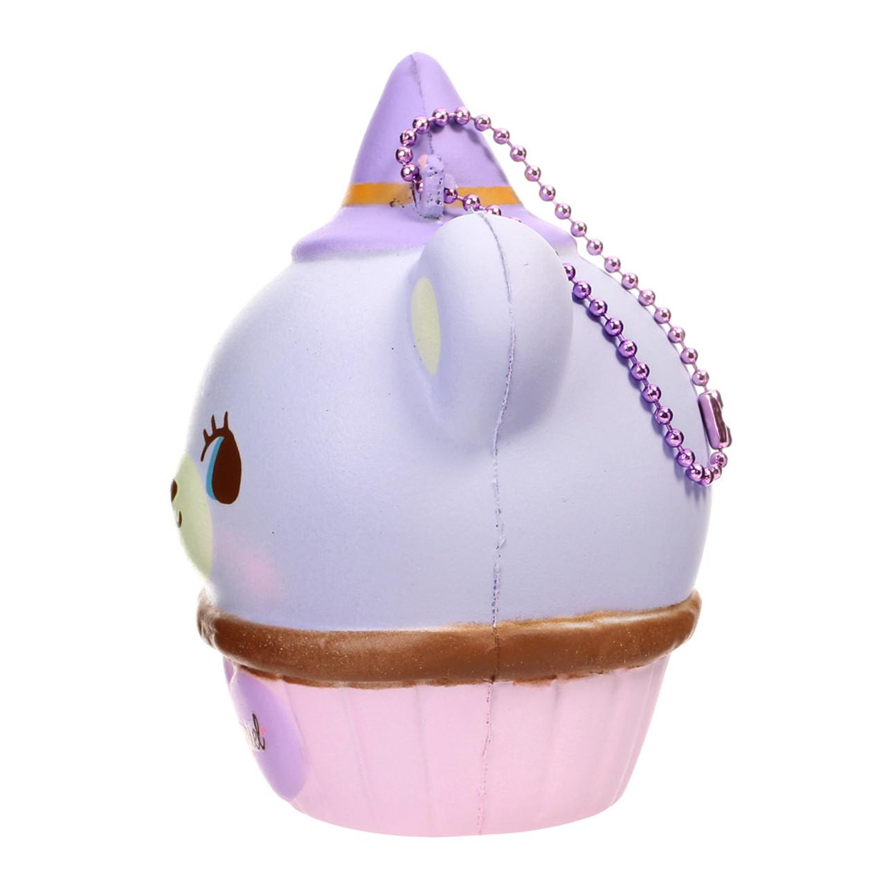 NIC Domiel Hug Me Purple Bear Cupcake Halloween Squishy Toy Charm ( Side View )