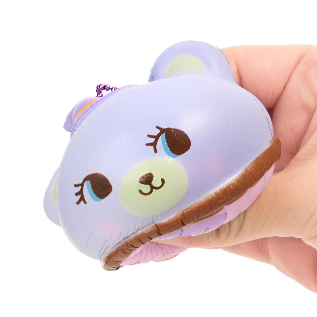 NIC Domiel Hug Me Purple Bear Cupcake Halloween Squishy Toy Charm ( Squeezing Mode & Proportion )