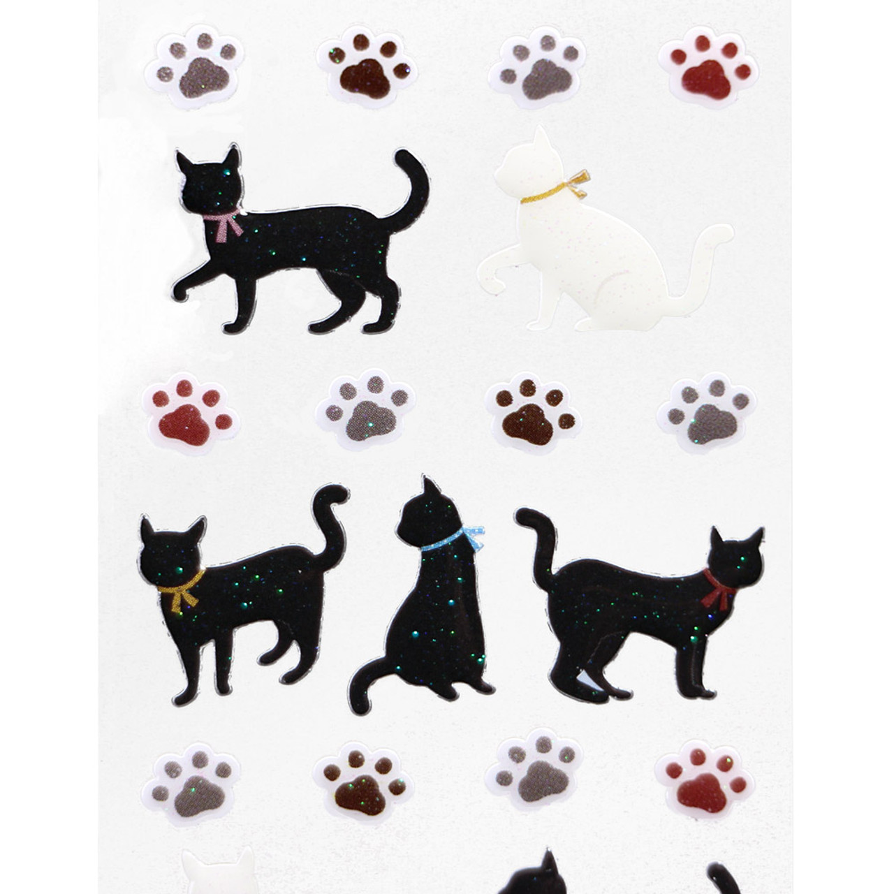 Japan Ark Road Sticker Collection Black White Cat & Paw Sticker ST-102 ( Close-up )