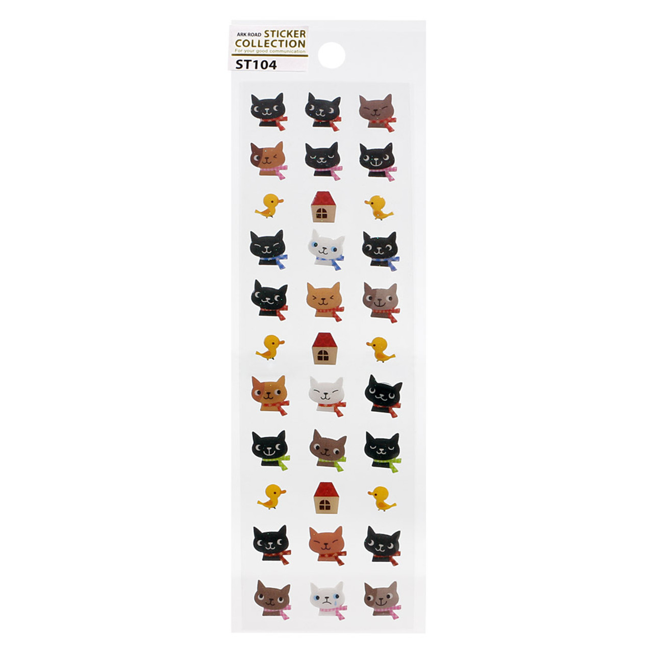 Japan Ark Road Sticker Collection Cute Cats Birds & House Sticker ST-104 ( Front View )