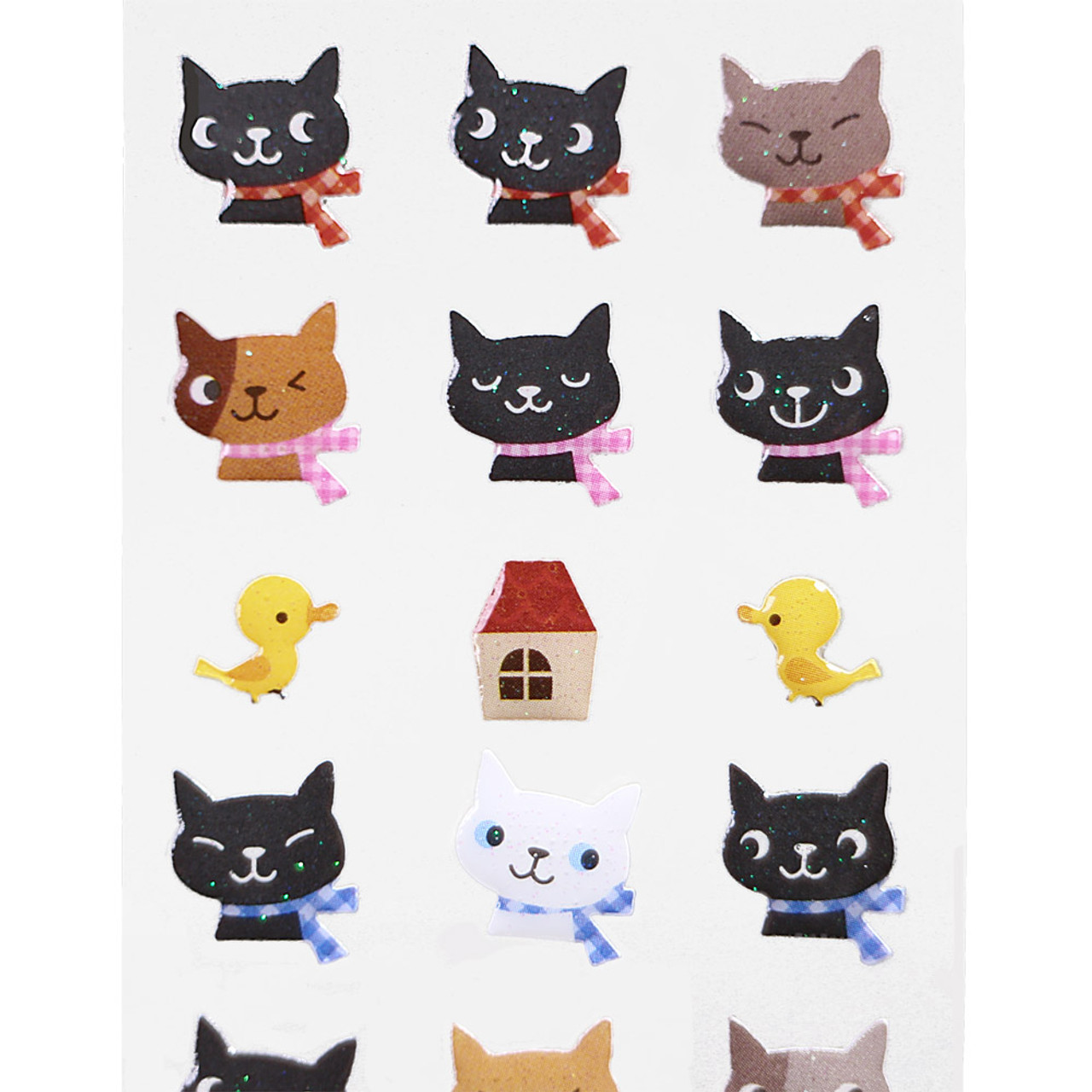 Japan Ark Road Sticker Collection Cute Cats Birds & House Sticker ST-104 ( Close-up )