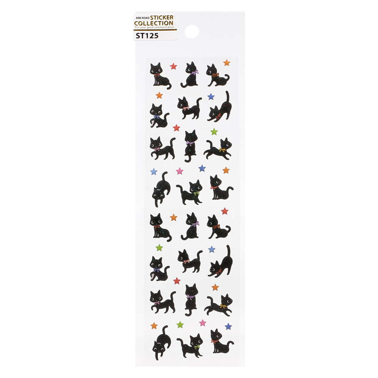 Japan Ark Road Sticker Collection Black Cats & Stars Sticker ST-125 ( Front View )