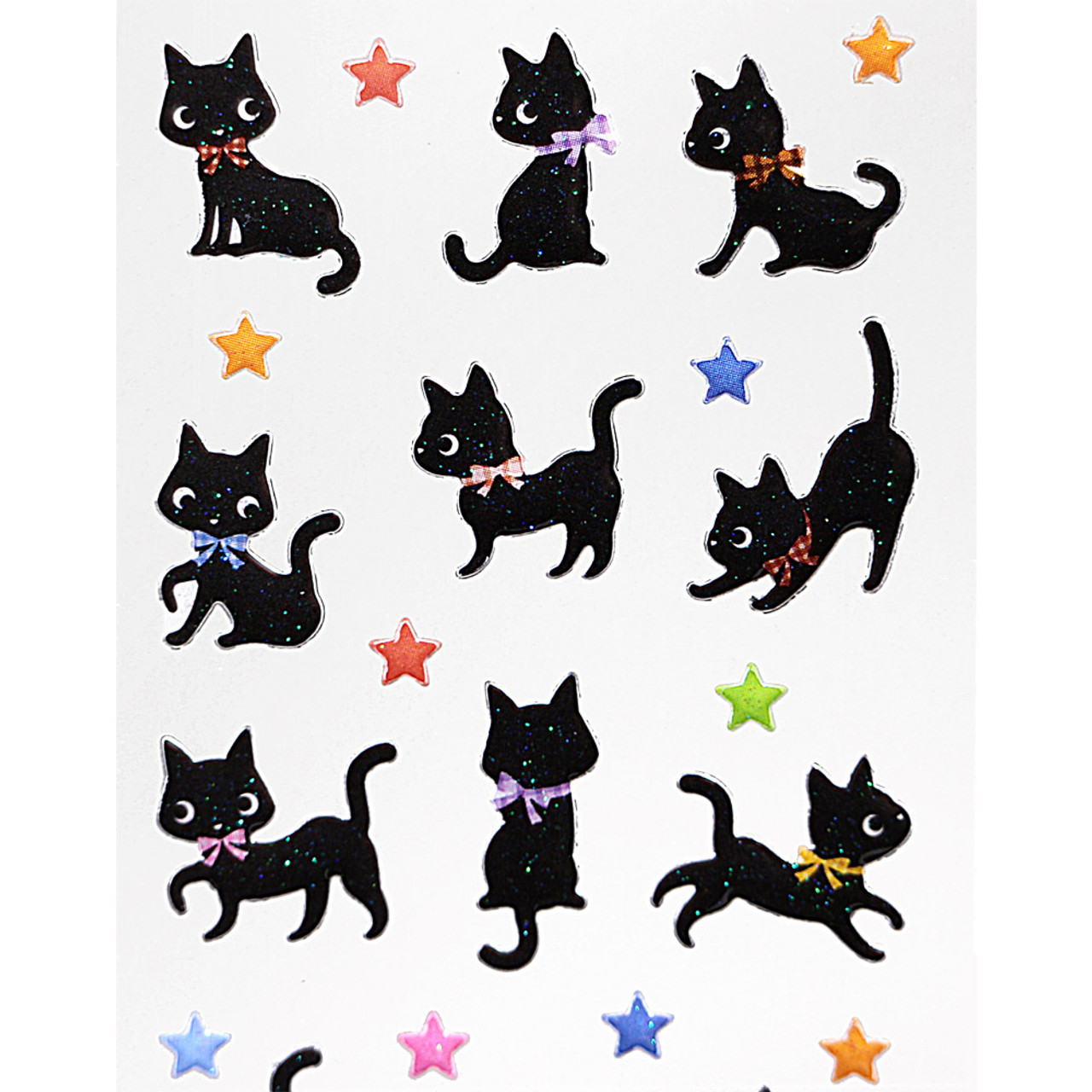 Japan Ark Road Sticker Collection Black Cats & Stars Sticker ST-125 ( Close-up )
