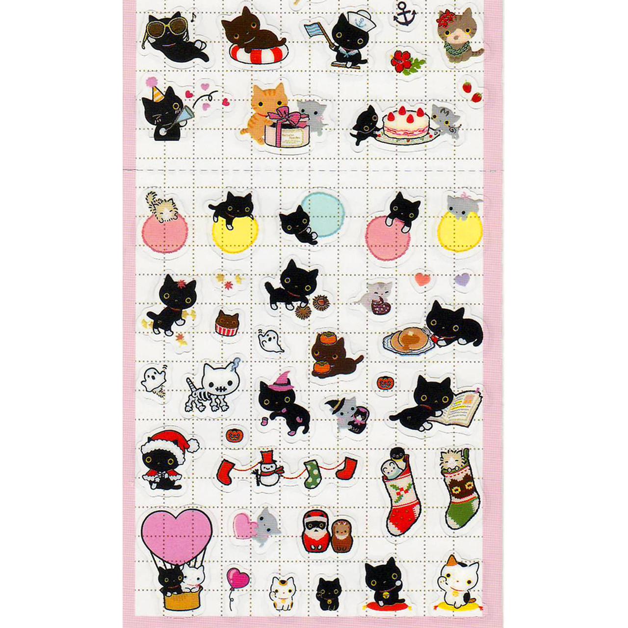 San-X Kutusita Nyanko Socks Black Cat Events Schedule Sticker SE30606 ( Close up Bottom )