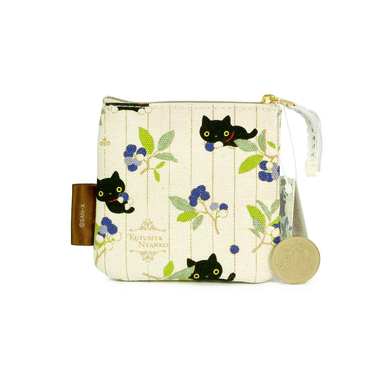 0c57f996d95 San-X Kutusita Nyanko Socks Black Cat English Garden Canvas Fabric Coin  Wallet ( Front