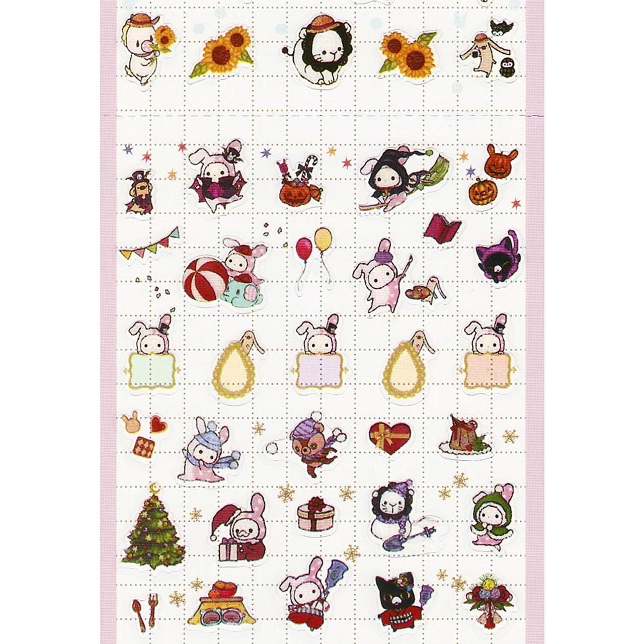 San-x Sentimental Circus Shappo Bunny Characters Events Schedule Sticker SE30605 ( Bottom View )