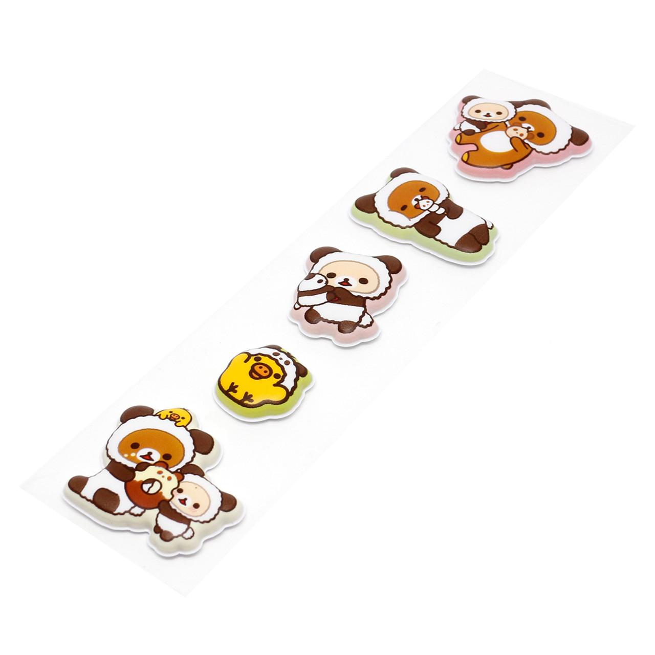 San-x Rilakkuma Relax Bear Panda Costume With Clover Sticker SE27702 ( Sticker View )