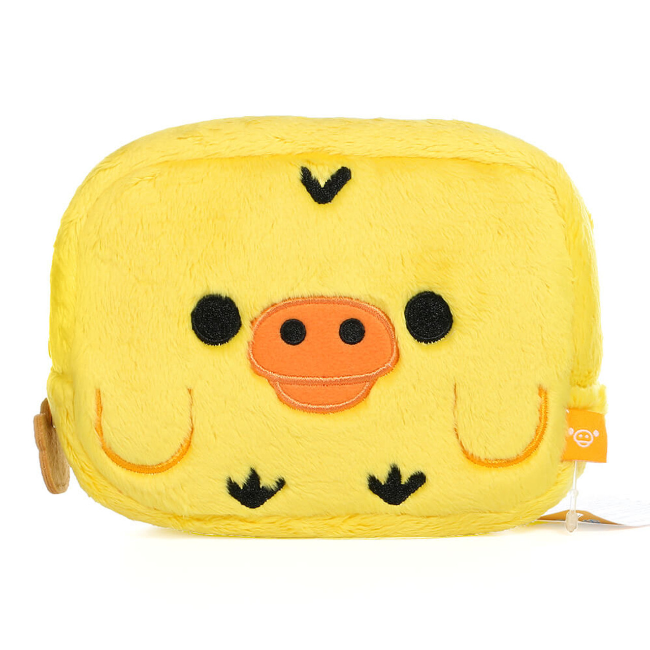 San-x Kiiroitori Yellow Chick Rectangle Face Plush Cosmetic Pouch ( Front View )