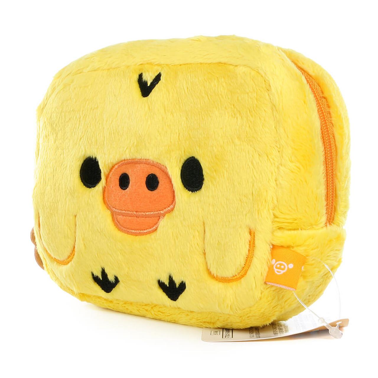 San-x Kiiroitori Yellow Chick Rectangle Face Plush Cosmetic Pouch ( Side View )