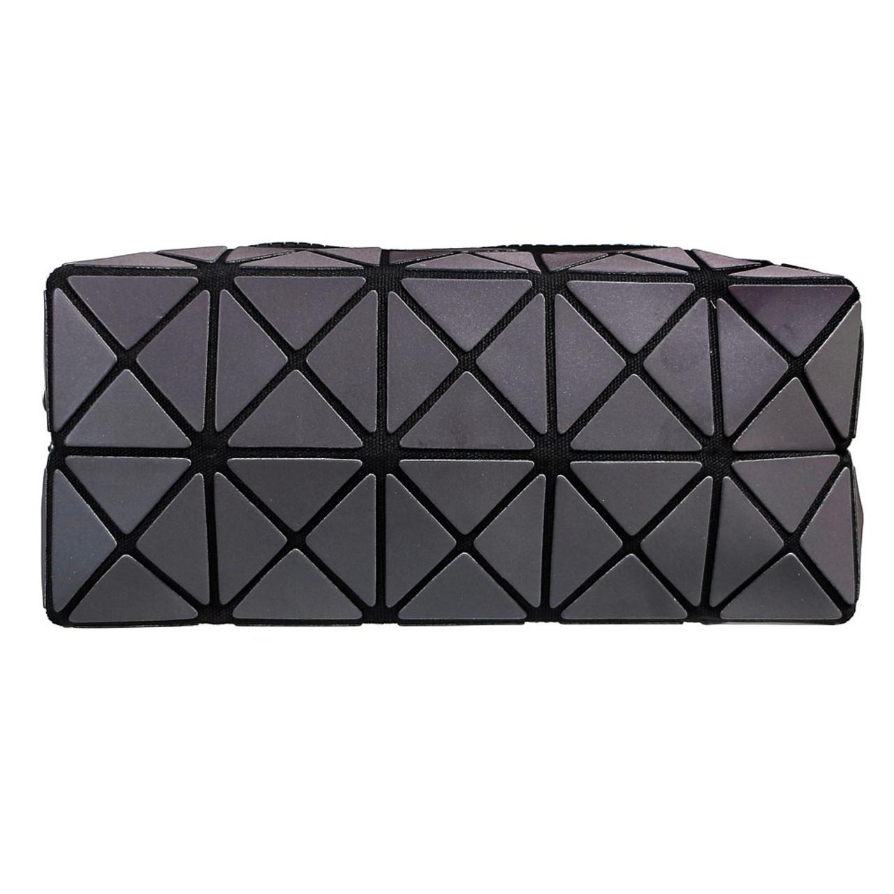 Color Change Rainbow Geometric Lattice Fold Makeup Bag ( Front View )