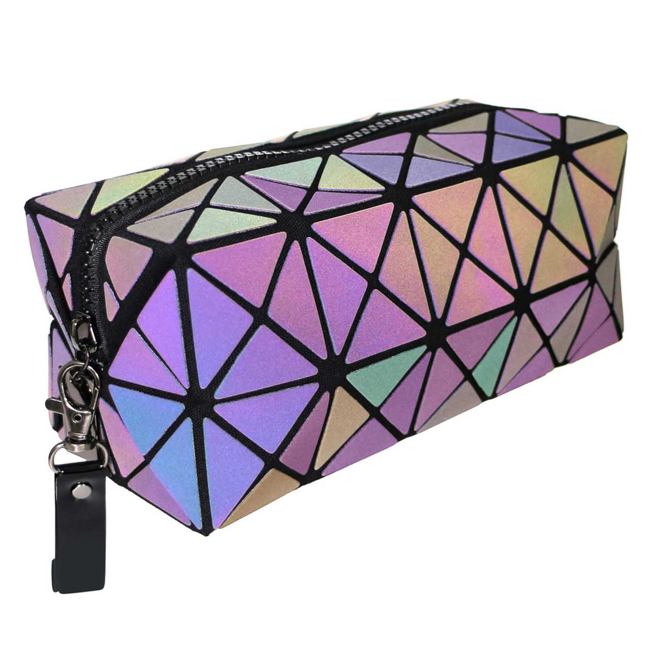 Color Change Rainbow Geometric Lattice Fold Makeup Bag ( 45 Degree Angel View & Light Reflective Mode )
