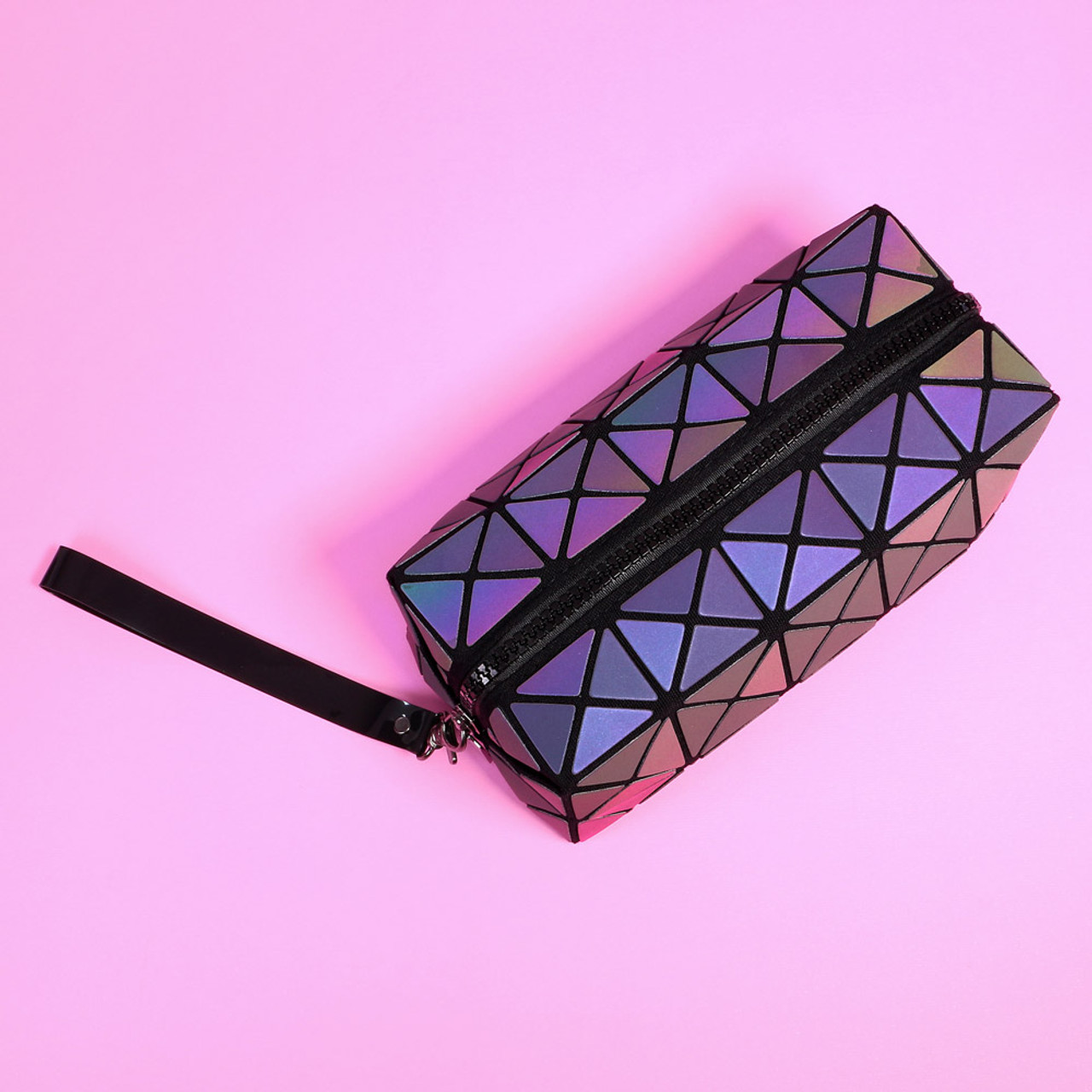 Color Change Rainbow Geometric Lattice Fold Makeup Bag ( Trendy View )