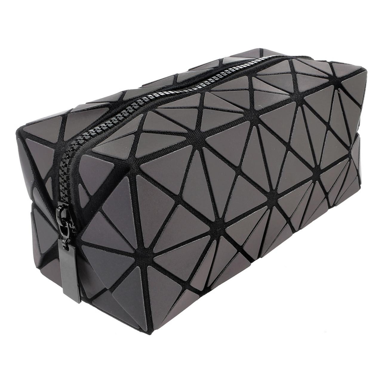 Color Change Rainbow Geometric Lattice Fold Makeup Bag ( 45 Degree Angel View & Normal Mode )