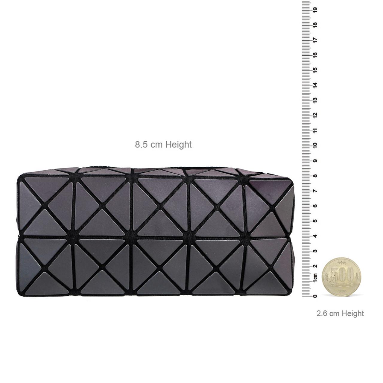 Color Change Rainbow Geometric Lattice Fold Makeup Bag ( Proportion )