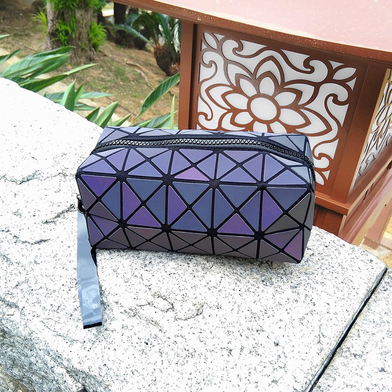 Color Change Rainbow Geometric Lattice Fold Makeup Bag ( Environment View )