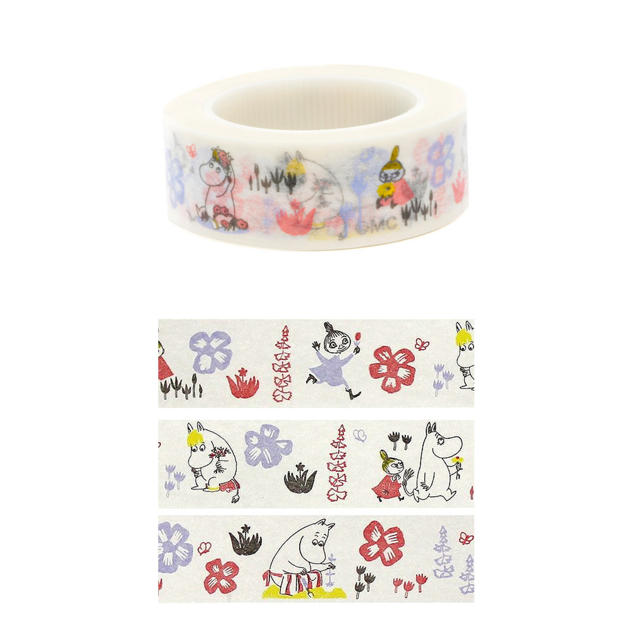 Moomin Family White Deco Tape - Garden ( Cover View )