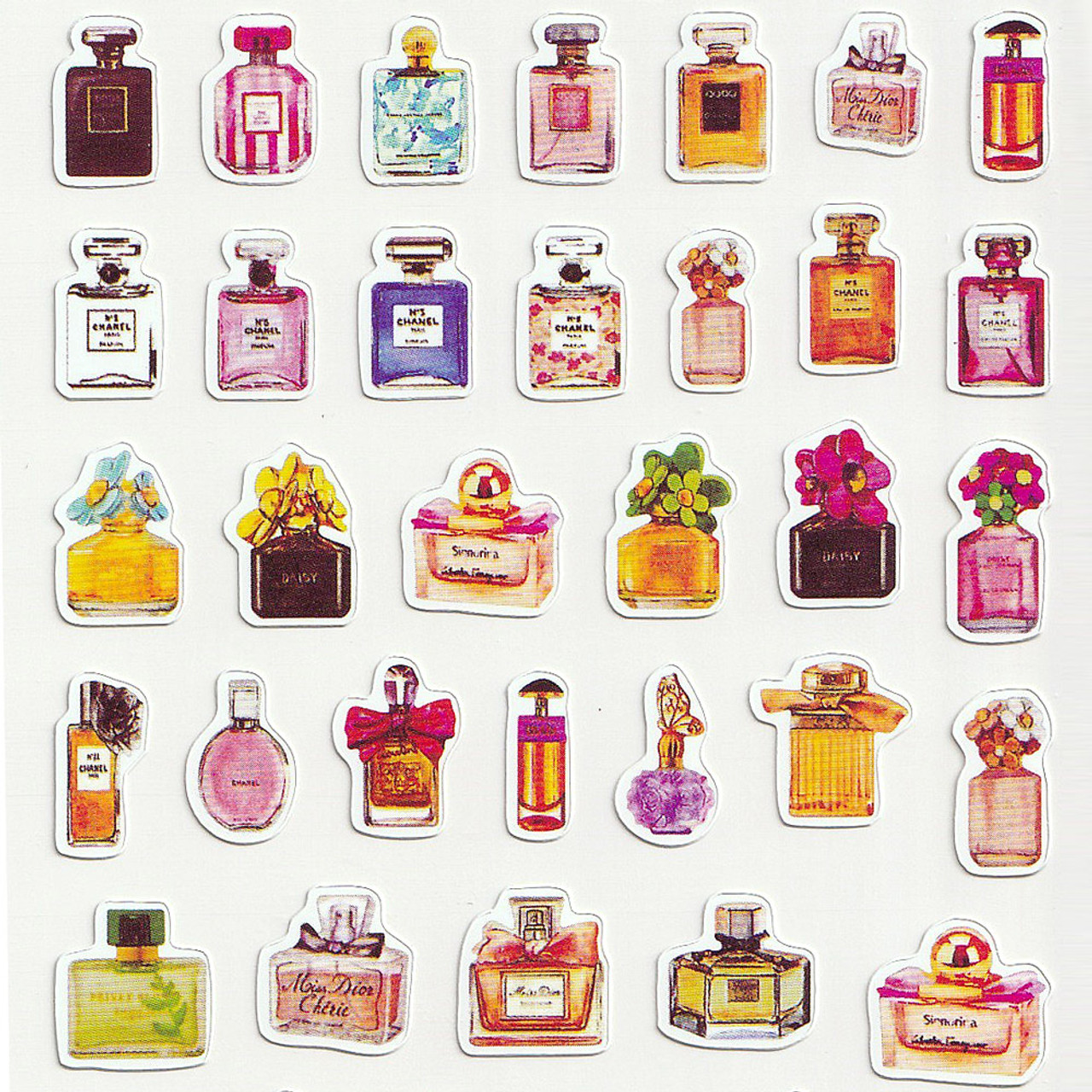 Adorable Four Style Sticker Pack ( Perfume Bottles Top )