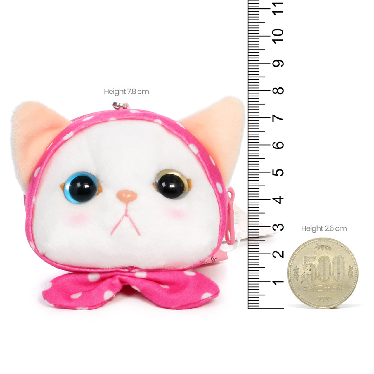 Choo Choo Cat Mini Coin Pouch - Cute Dots Hood ( Proportion )