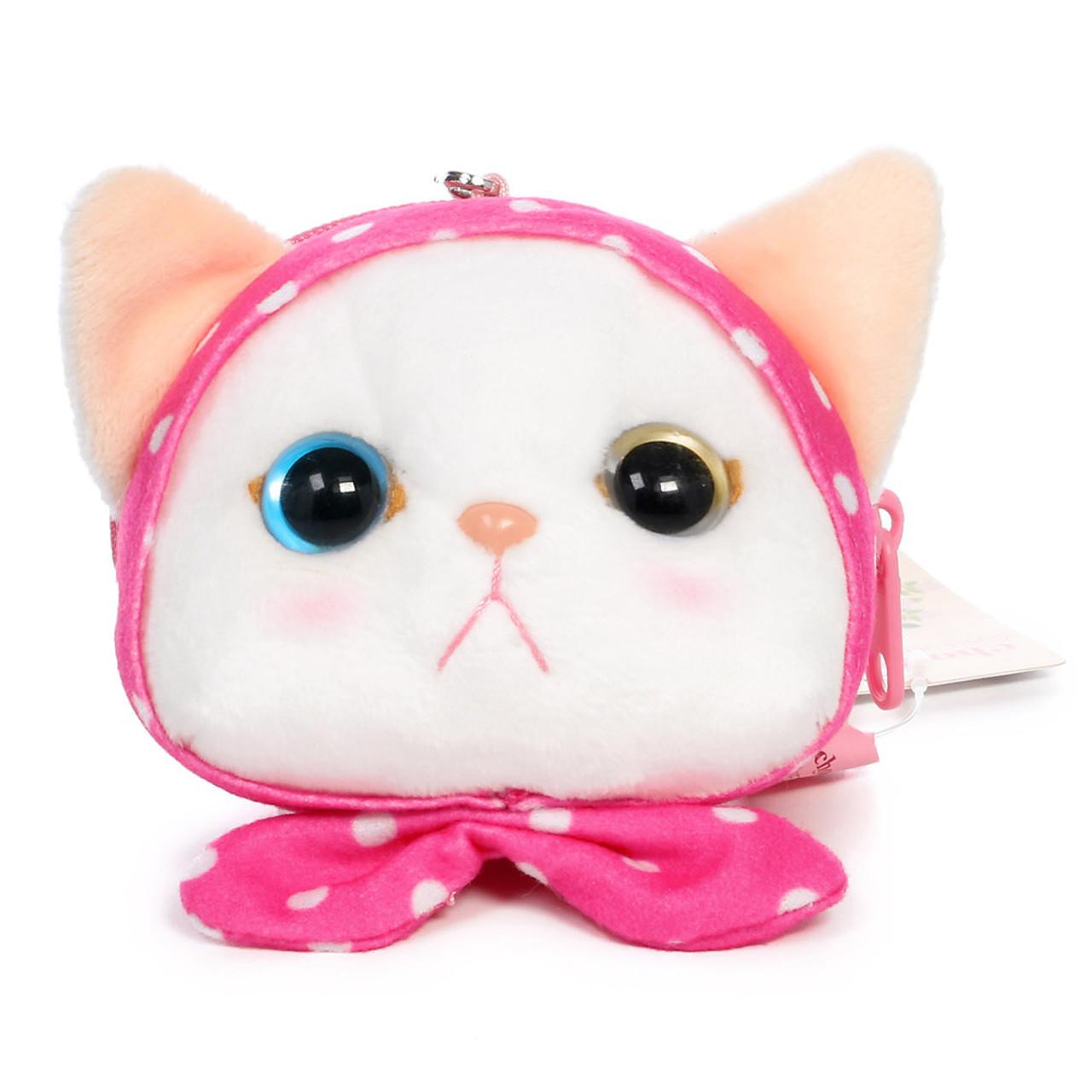 Choo Choo Cat Mini Coin Pouch - Cute Dots Hood ( Front View )