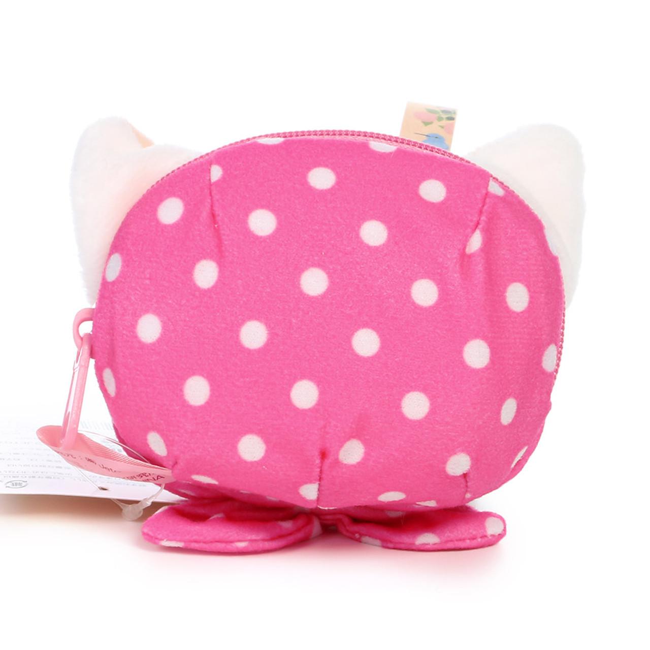 Choo Choo Cat Mini Coin Pouch - Cute Dots Hood ( Back View )