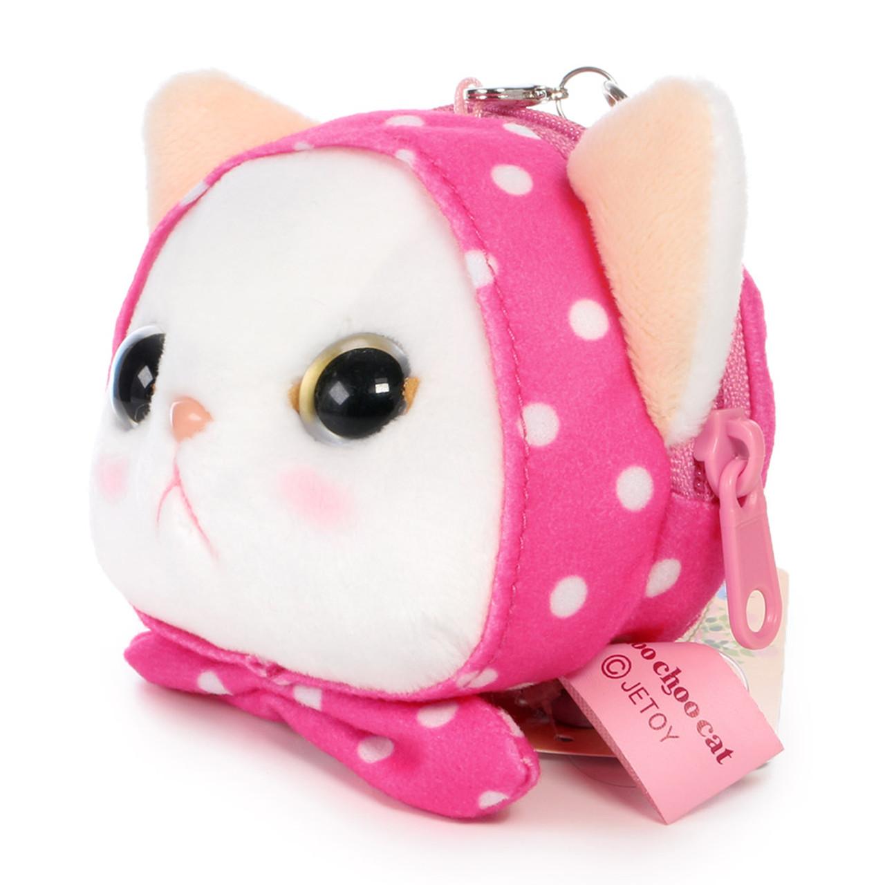 Choo Choo Cat Mini Coin Pouch - Cute Dots Hood ( Side View )